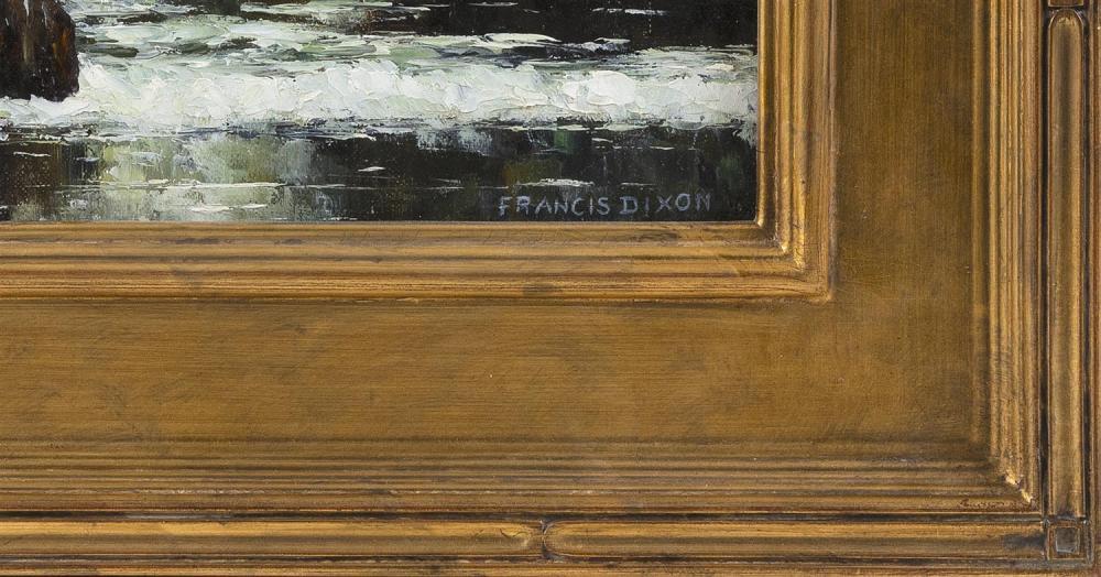 FRANCIS STILLWELL DIXON, New York/California, 1879-1967, Waves crashing on a rocky coast., Oil on board, 16