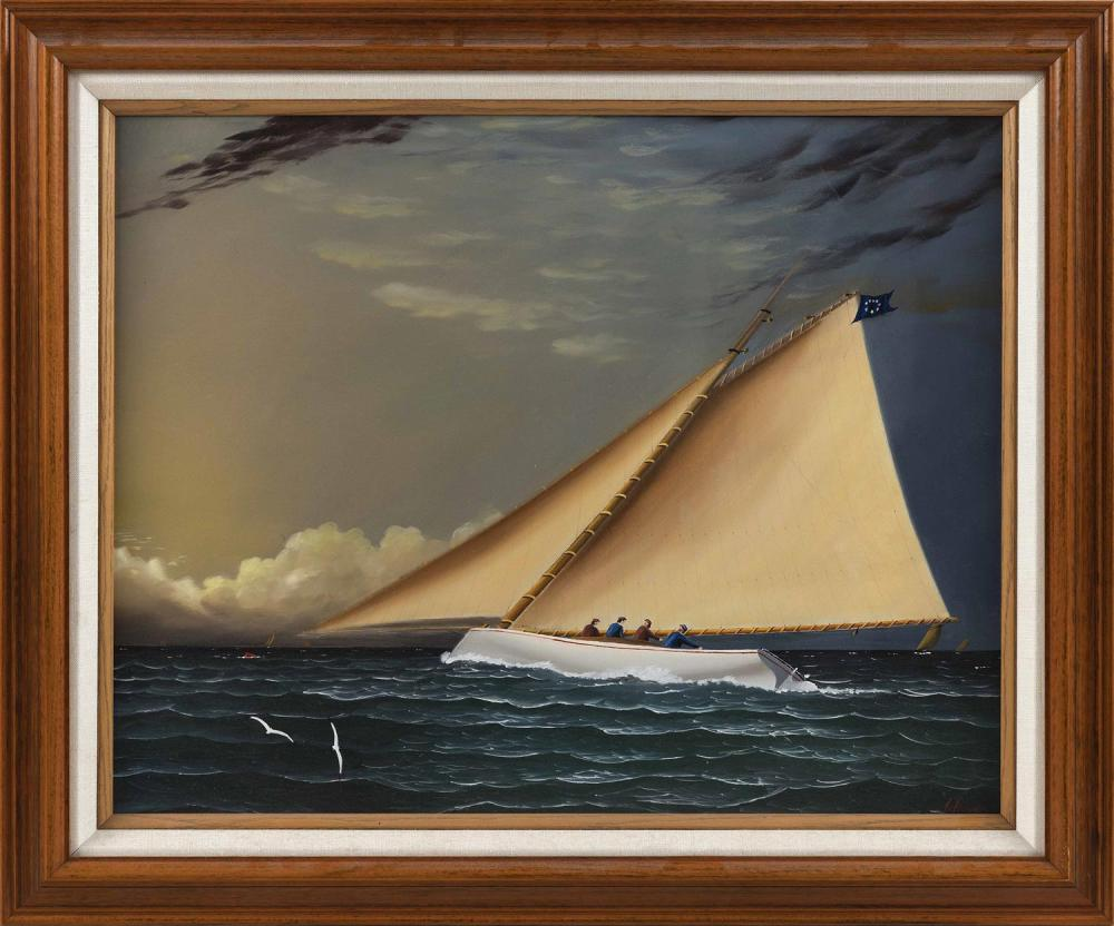 """JEROME HOWES, New York/Massachusetts/Vermont, b. 1955, A breezy day on the catboat., Oil on board, 16"""" x 20"""". Framed 20"""" x 24""""."""