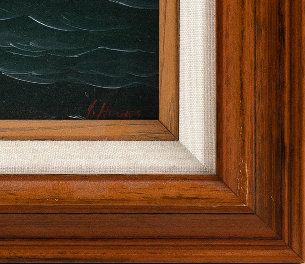 JEROME HOWES, New York/Massachusetts/Vermont, b. 1955, A breezy day on the catboat., Oil on board, 16