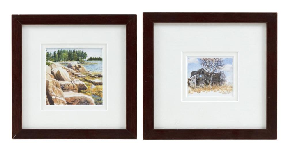 "JANET LAIRD-LAGASSEE, Maine, Contemporary, Two watercolors:, Watercolors on paper, the largest 3.25"" x 3"". Framed 7"" x 7""."