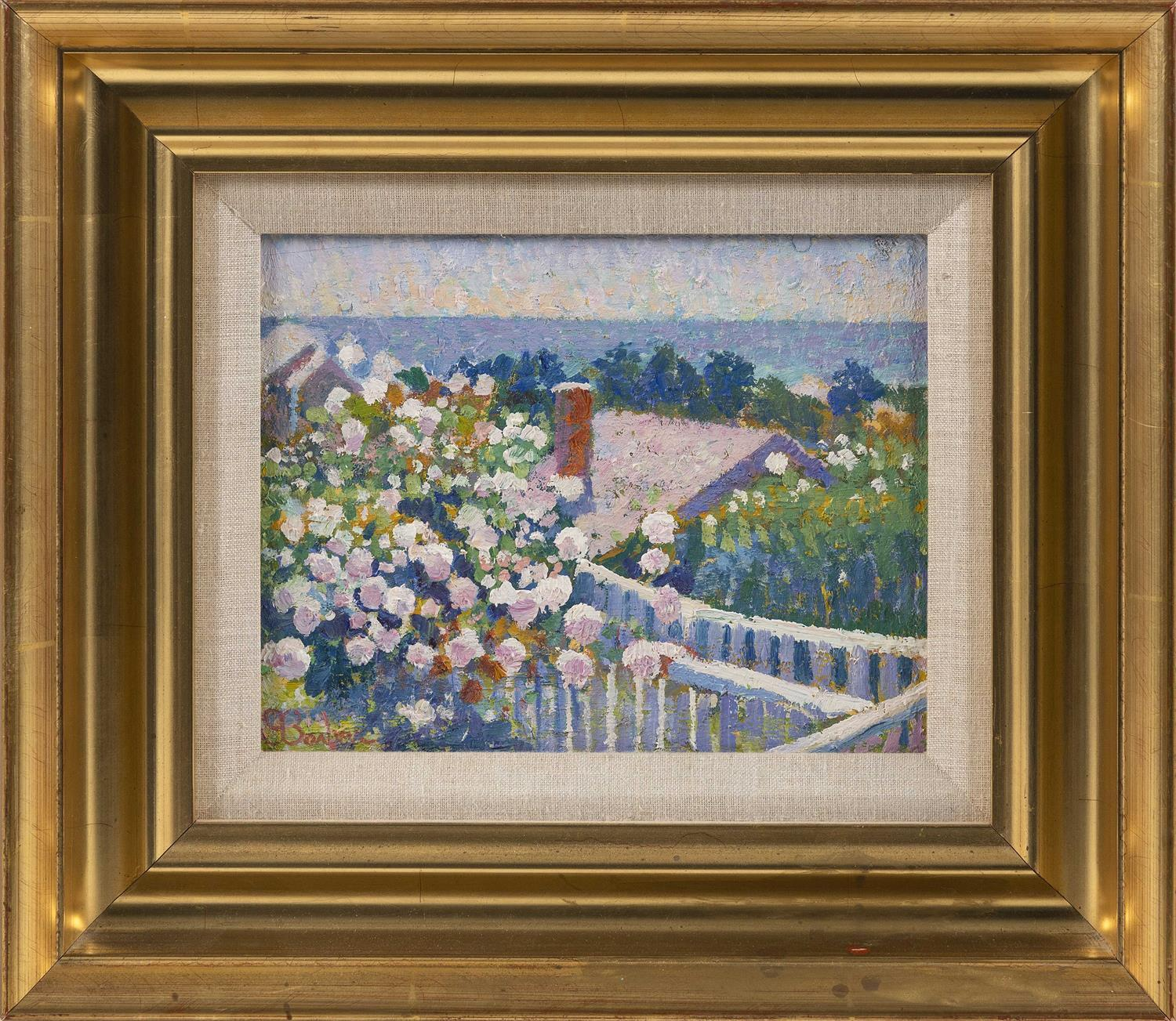 "SAM BARBER, Massachusetts/Italy, b. 1943, ""Nantucket Roses""., Oil on panel, 8"" x 10"". Framed 14.75"" x 16.75""."