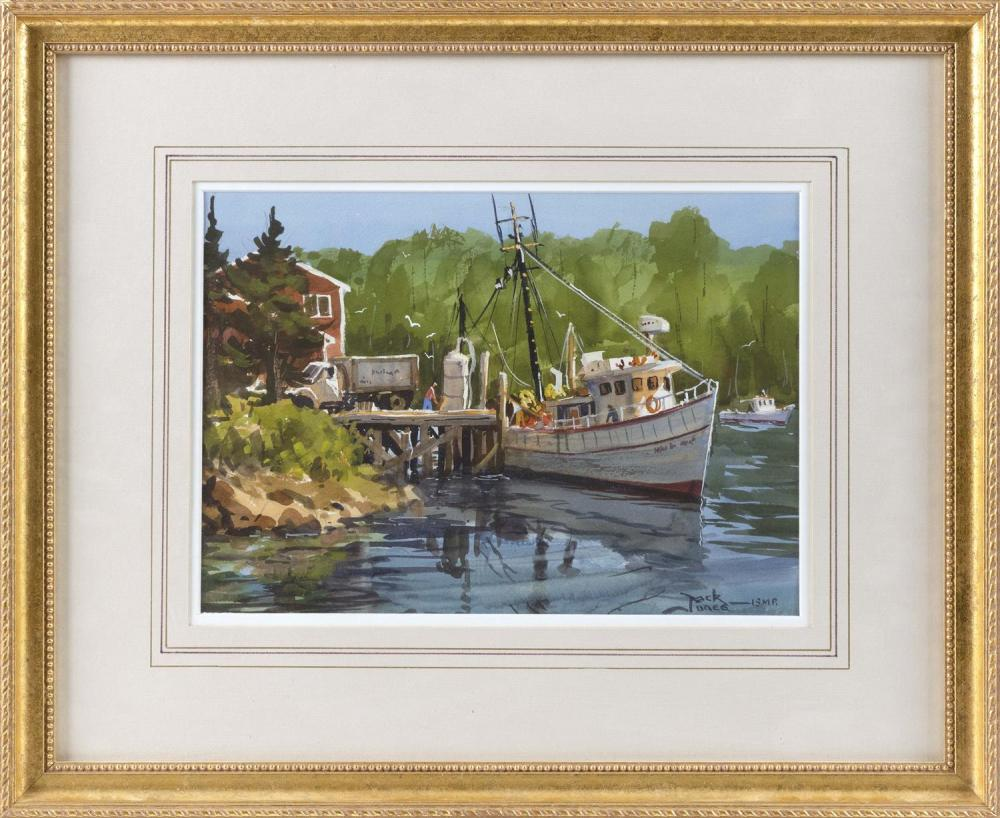 """JACK JONES, Massachusetts, 1940-2011, """"After the Catch""""., Watercolor on paper, 9"""" x 13"""" sight. Framed 18"""" x 22""""."""