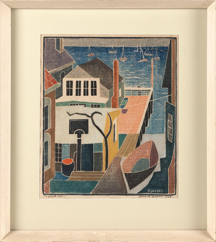 "BLANCHE (NETTIE) LAZZELL (Massachusetts/West Virginia, 1878-1956), ""My Wharf Studio""., Whiteline woodblock print, 12.5"" x 14.5"" sight. Framed 19.5"" x 21.25""."