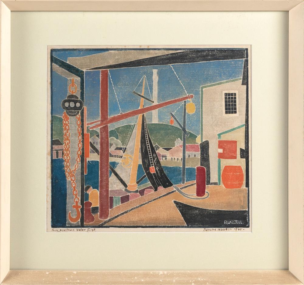 """BLANCHE (NETTIE) LAZZELL (Massachusetts/West Virginia, 1878-1956), """"Provincetown Water Front""""., Whiteline woodblock print, 12.5"""" x 14.5"""" sight. Framed 19.5"""" x 21.25""""."""