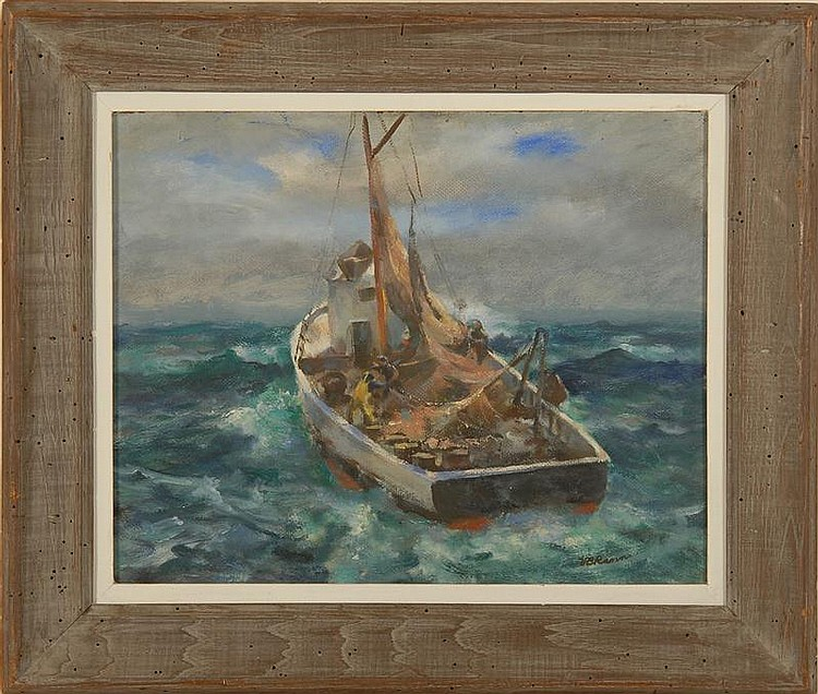 VOLLIAN BURR RANN, American, 1897-1956, Fishing boat., Oil on board, 16