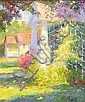 HILDA NEILY, American, b. 1947, Landscape with house., Oil on masonite, 24