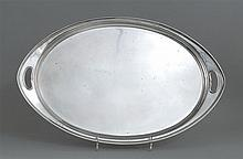 OVAL STERLING SILVER WAITER BY ARTHUR STONE Open handles at both ends. Length 28½
