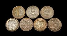 SEVEN NEW YORK U.S. COMMEMORATIVE HALF DOLLARS Two 1924 Huguenot-Walloon, a 1936 Albany, two 1936 Long Island and two 1938 New Roche...