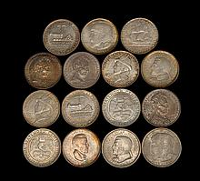FIFTEEN U.S. COMMEMORATIVE COINS Two 1936 Cleveland Great Lakes Exposition; a 1946 Iowa Centennial; two 1936 Wisconsin Centennial; a...