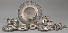 EIGHTEEN PIECES OF STERLING SILVER HOLLOWWARE AND FLATWARE By various makers. Includes two porringers, two baby cups, a creamer and...
