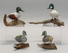 FOUR A.F. CLARK MINIATURE BIRD CARVINGS All Branded