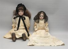 TWO GERMAN BISQUE HEAD DOLLS One with mold number 171 and composition ball-jointed body, height 29