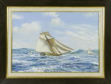 "ROY CROSS, United Kingdom, b. 1924, ""The Virginia Built Bermuda Sloop Mediator, c. 1745""., Watercolor and gouache, 20"" x 29"" sight...."