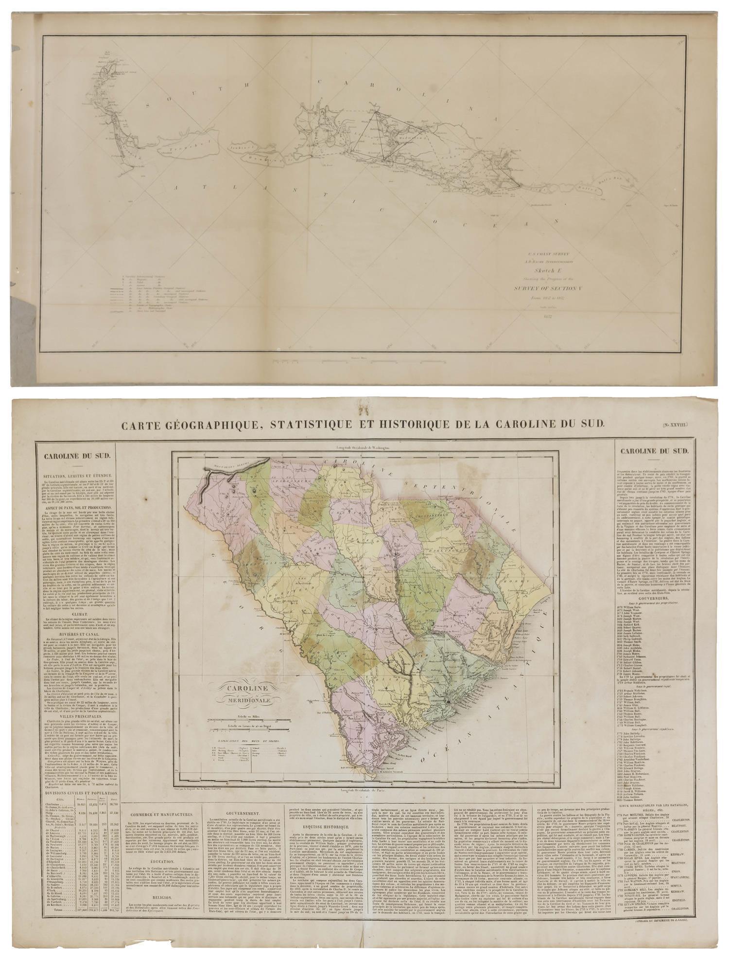 """Lot - TWO MAPS OF SOUTH CAROLINA 1) """"Carte Geographique, Statisique et Historique de la Caroline ..."""