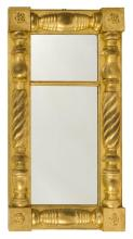 ANTIQUE AMERICAN GILT HALF-COLUMN MIRROR With rosettes at each corner. Height 36.5