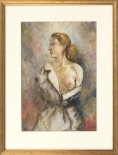 ENGLISH SCHOOL, POSSIBLY VANESSA BELL, Early 20th Century, Portrait of a semi-nude woman., Watercolor on paper, 18.5