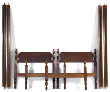 PAIR OF WALLACE NUTTING TWIN BEDS In maple. Both with turned urn-form posts. Branded maker''s mark on headboard. Heights 39