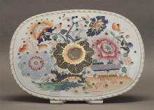 ENGLISH STONEWARE MAZARIN With floral and gilt decoration. Marked on underside. 10.5