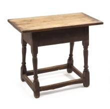 ANTIQUE AMERICAN STOOL Under an old deep red-wash finish. Rectangular top on splayed turned legs. Height 23.5