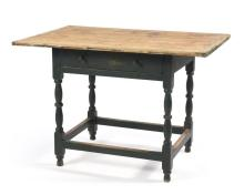 ANTIQUE AMERICAN TAVERN TABLE Pine top with breadboard ends. Maple base with single drawer in skirt and turned legs joined by stretc...