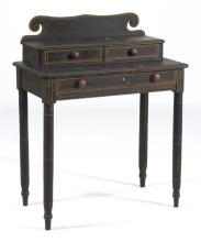 ANTIQUE AMERICAN THREE-DRAWER DRESSING TABLE In pine with grain-painted finish and gold highlights. Recessed uppper tier with shaped...