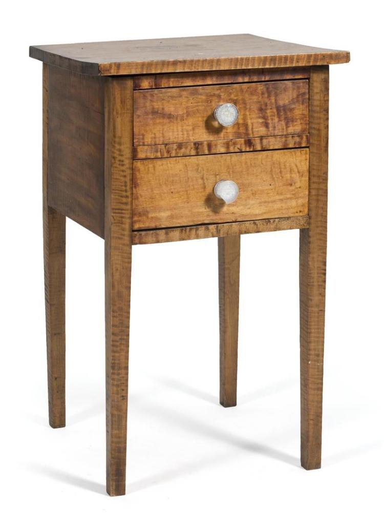 Antique American Hepplewhite Two Drawer Stand In Tiger Maple