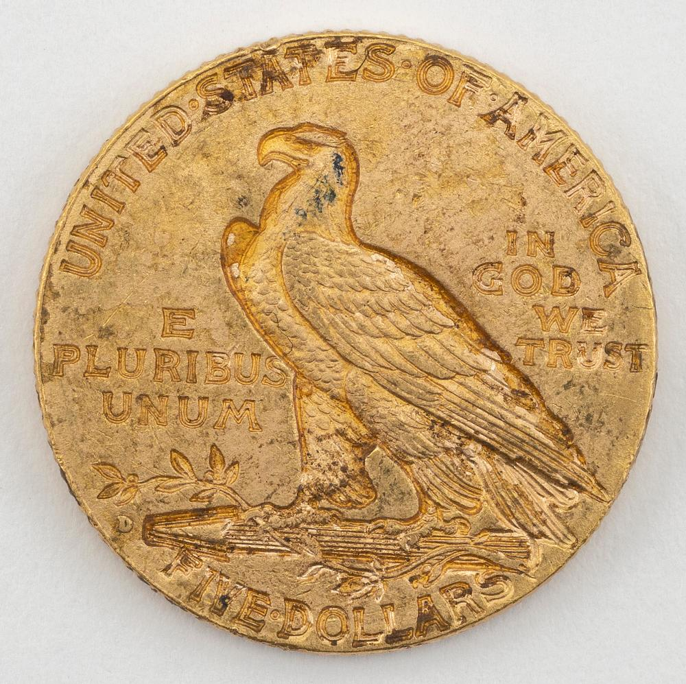 "1909 U.S. FIVE DOLLAR GOLD COIN Diameter 1""."