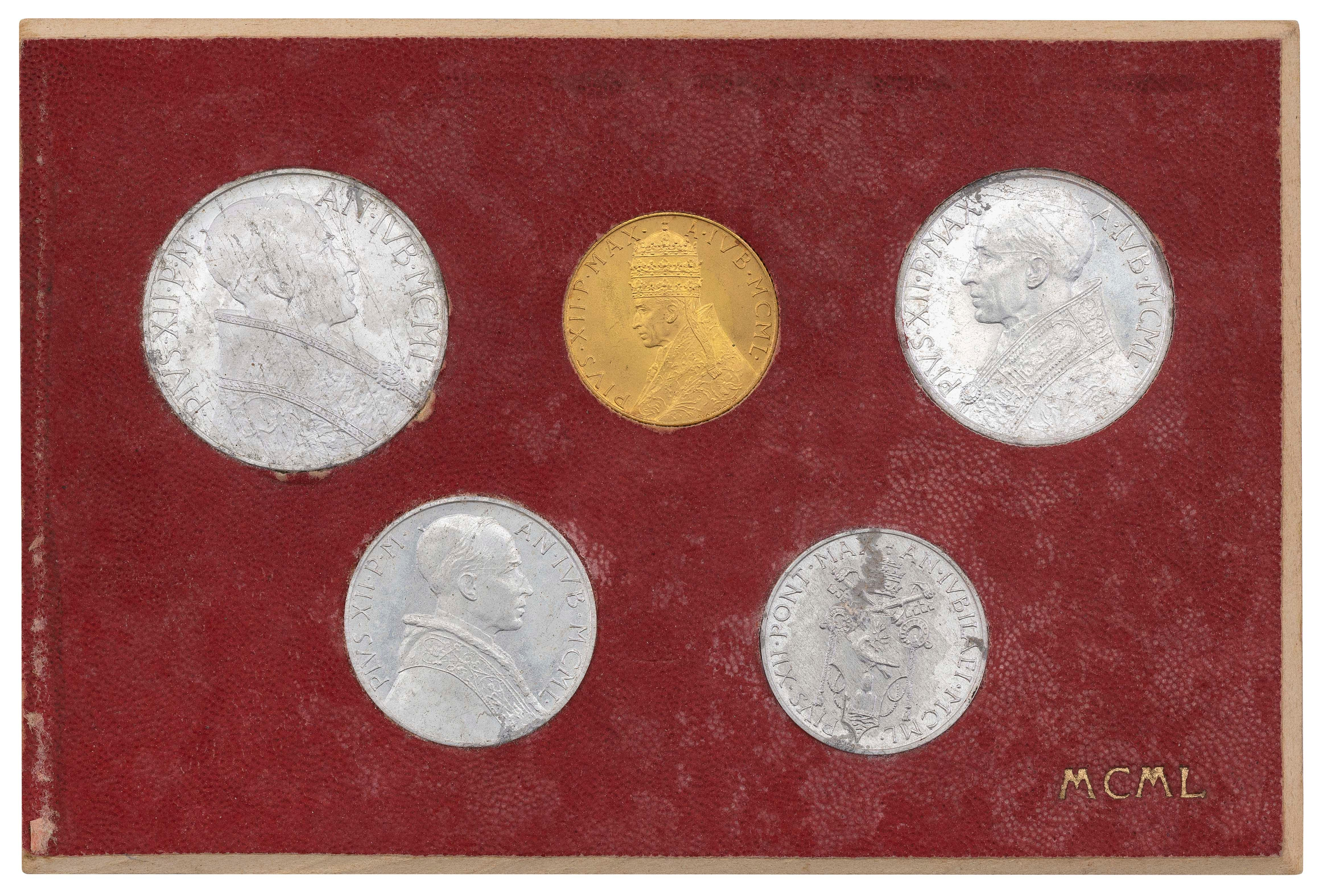 """1950 VATICAN CITY POPE PIUS XII HOLY YEAR FIVE-PIECE COIN SET Card 3"""" x 5""""."""