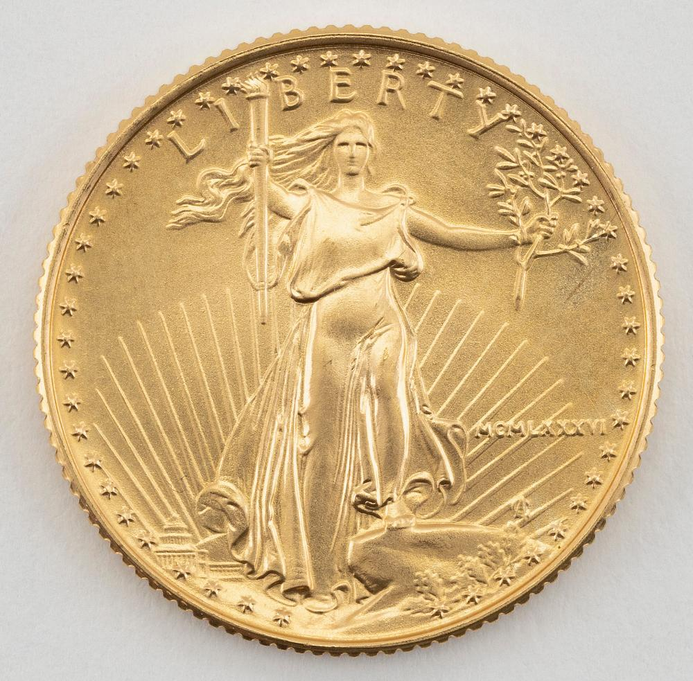 "1986 U.S. TEN DOLLAR GOLD COIN Diameter 1""."