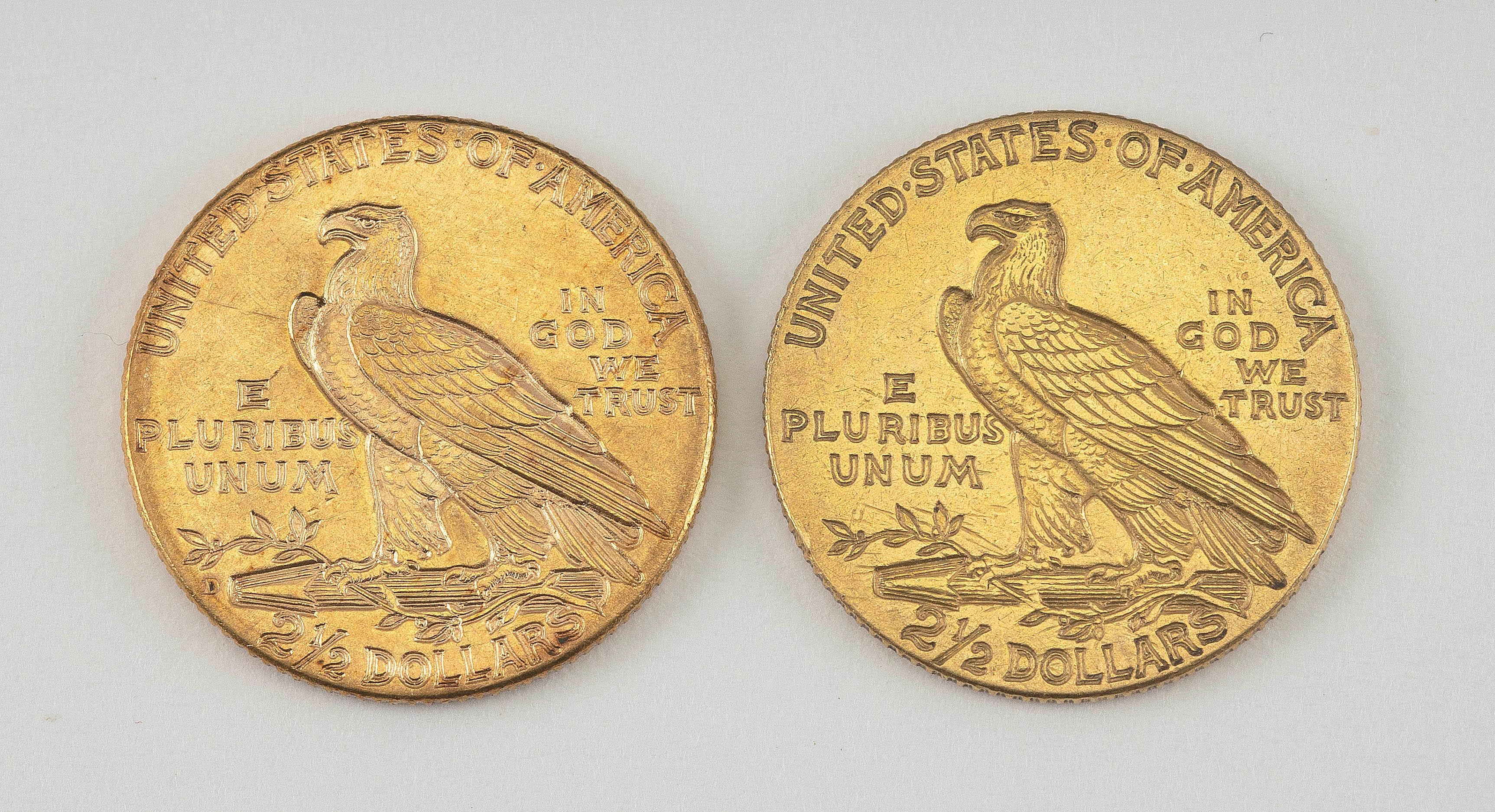 1915 AND 1925 TWO-AND-A-HALF DOLLAR GOLD PIECES