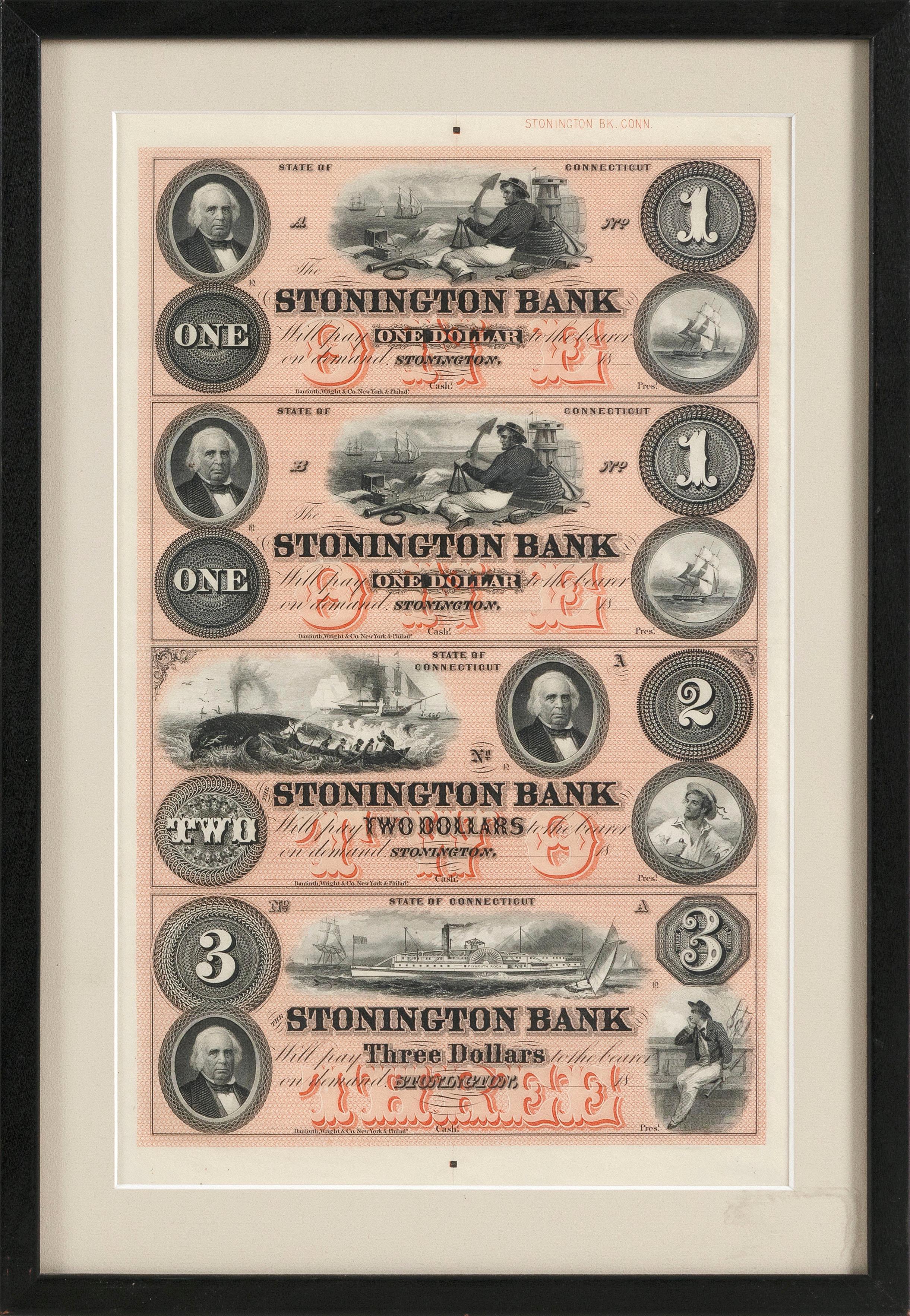 "RARE UNCUT SHEET OF STONINGTON BANK DOLLAR BILLS Connecticut, 19th Century 12.5"" x 8"" sight. Framed 15.5"" x 10.5""."