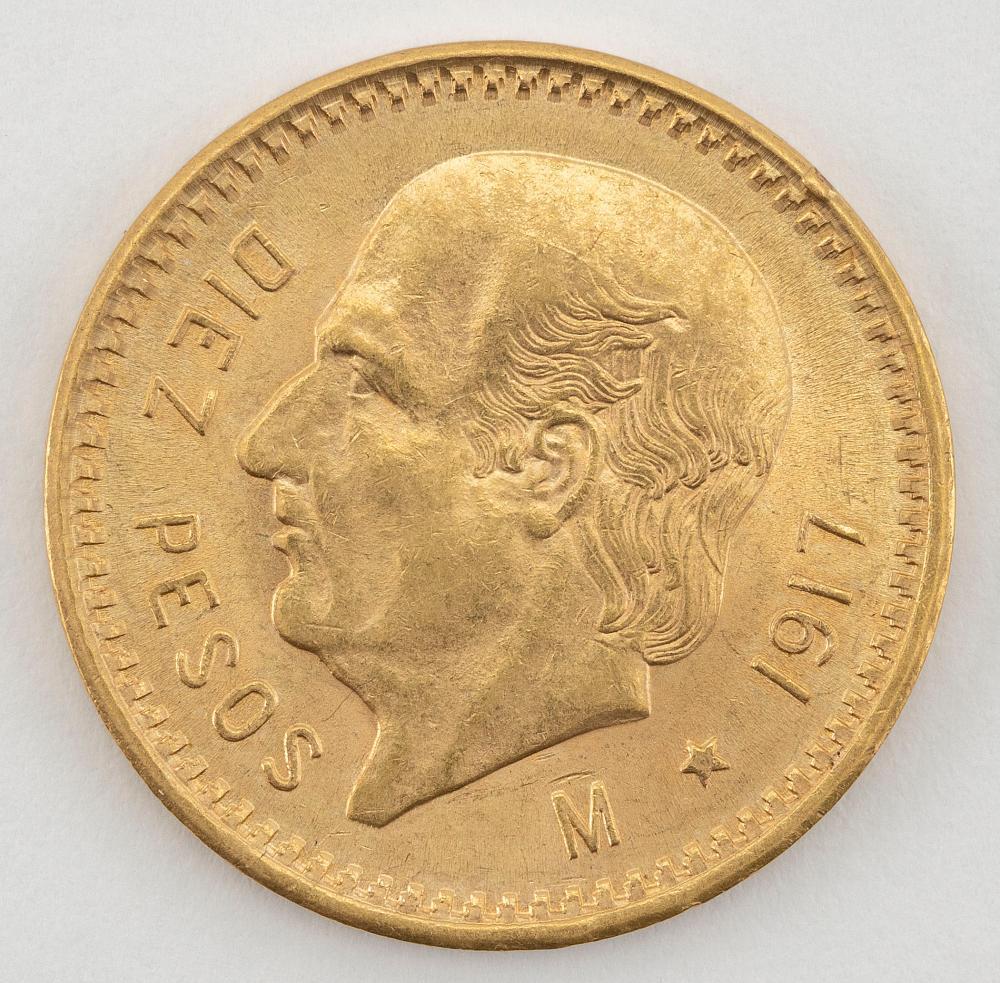 """1917 MEXICAN 10 PESOS GOLD COIN Diameter .75""""."""
