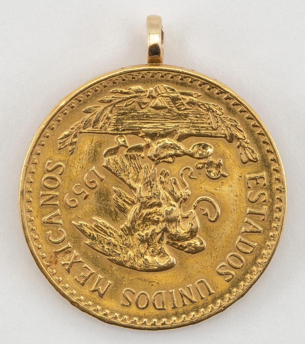 """1959 MEXICAN 20 PESO GOLD COIN Coin diameter 1""""."""
