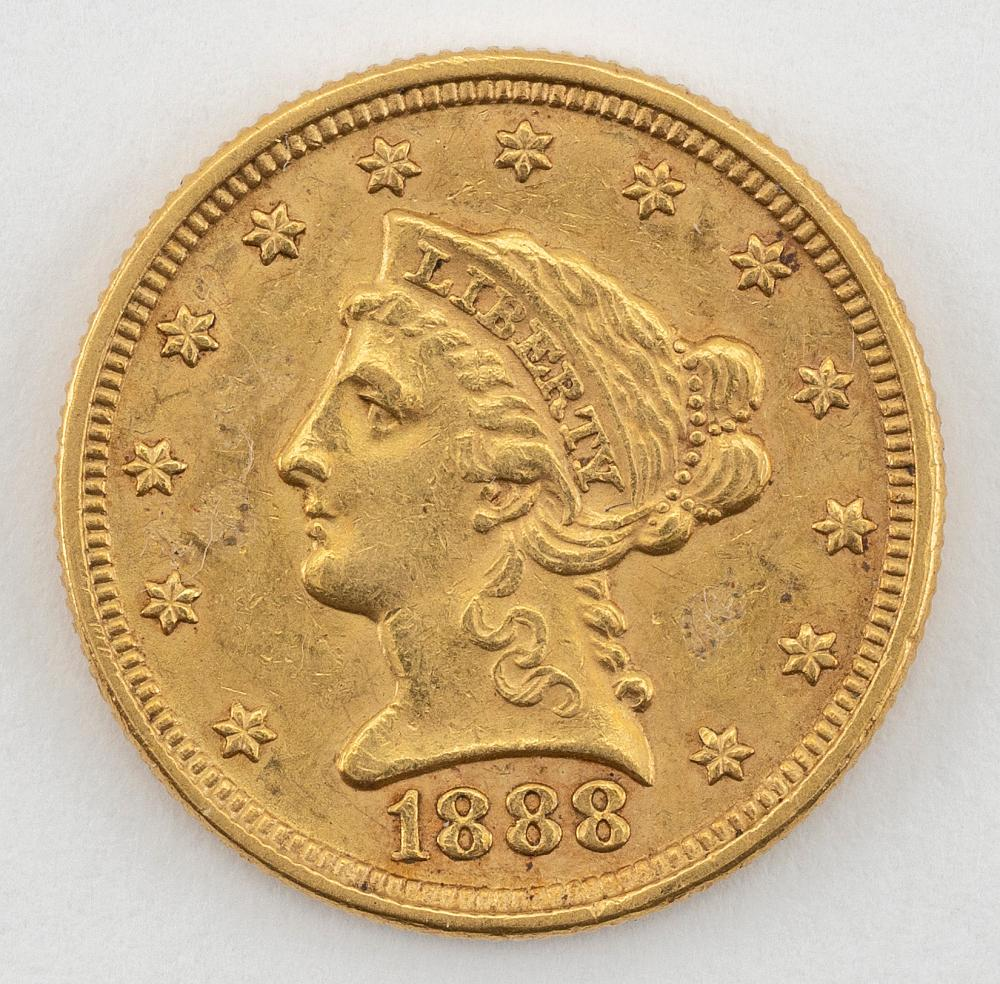 """1888 U.S. TWO-AND-A-HALF DOLLAR GOLD COIN Diameter .75""""."""
