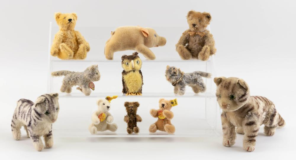 """ELEVEN STEIFF ANIMALS 20th Century Heights from 3"""" to 6""""."""