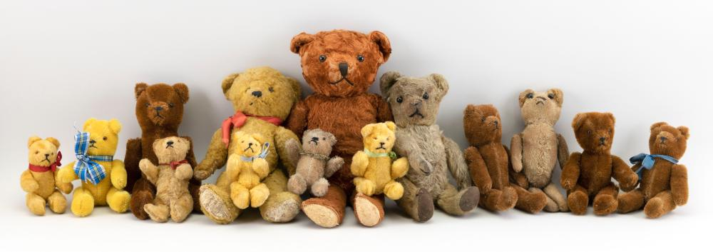 """FOURTEEN GERMAN AND ENGLISH BEARS 20th Century Heights from 6"""" to 15""""."""