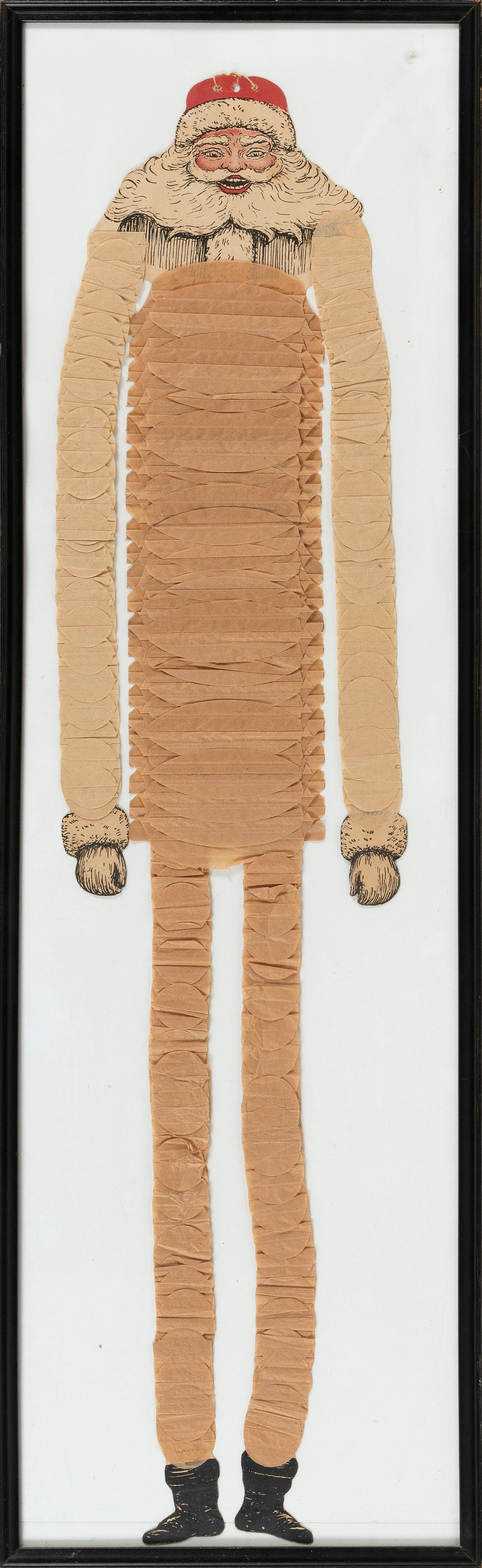 """EARLY LITHOGRAPH AND CREPE PAPER SANTA Early 20th Century Height 32"""". Frame 36"""" x 11""""."""