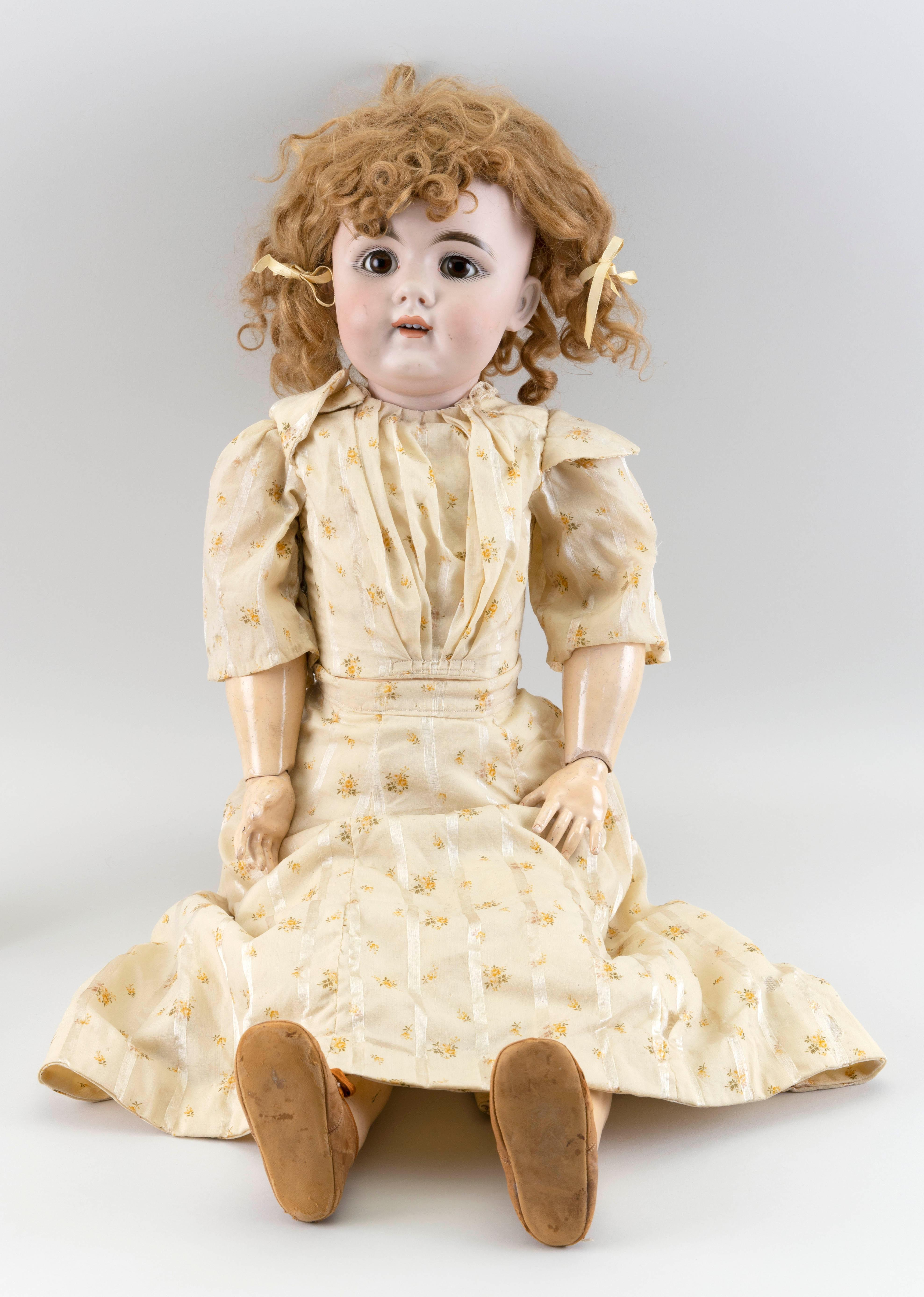 """ARMAND MARSEILLE 156 BISQUE-HEAD DOLL 1910 Height 30""""."""