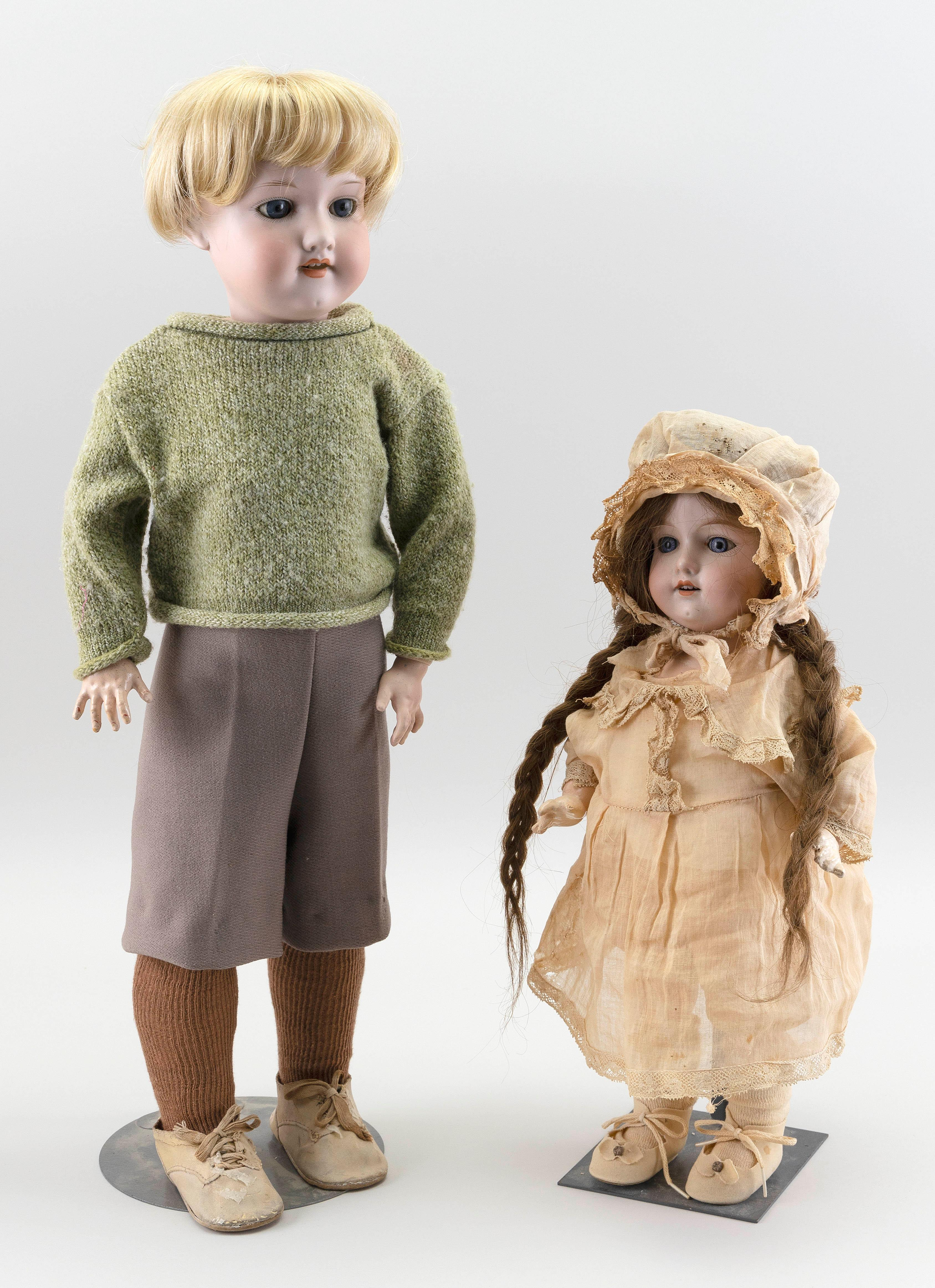 "TWO AM 390 BISQUE-HEAD DOLLS 1910 Heights 16"" and 22""."