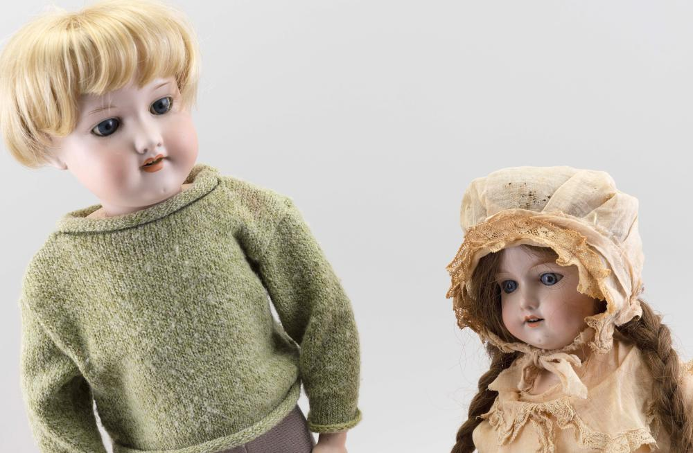 TWO AM 390 BISQUE-HEAD DOLLS 1910 Heights 16