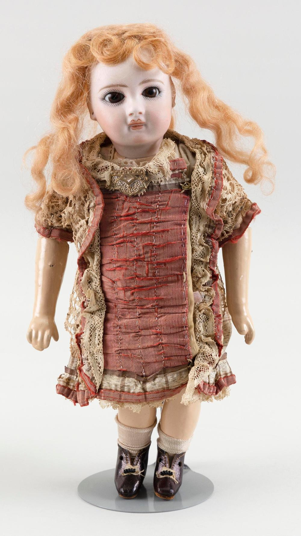 """FRENCH BISQUE-HEAD DOLL Circa 1890 Height 10""""."""