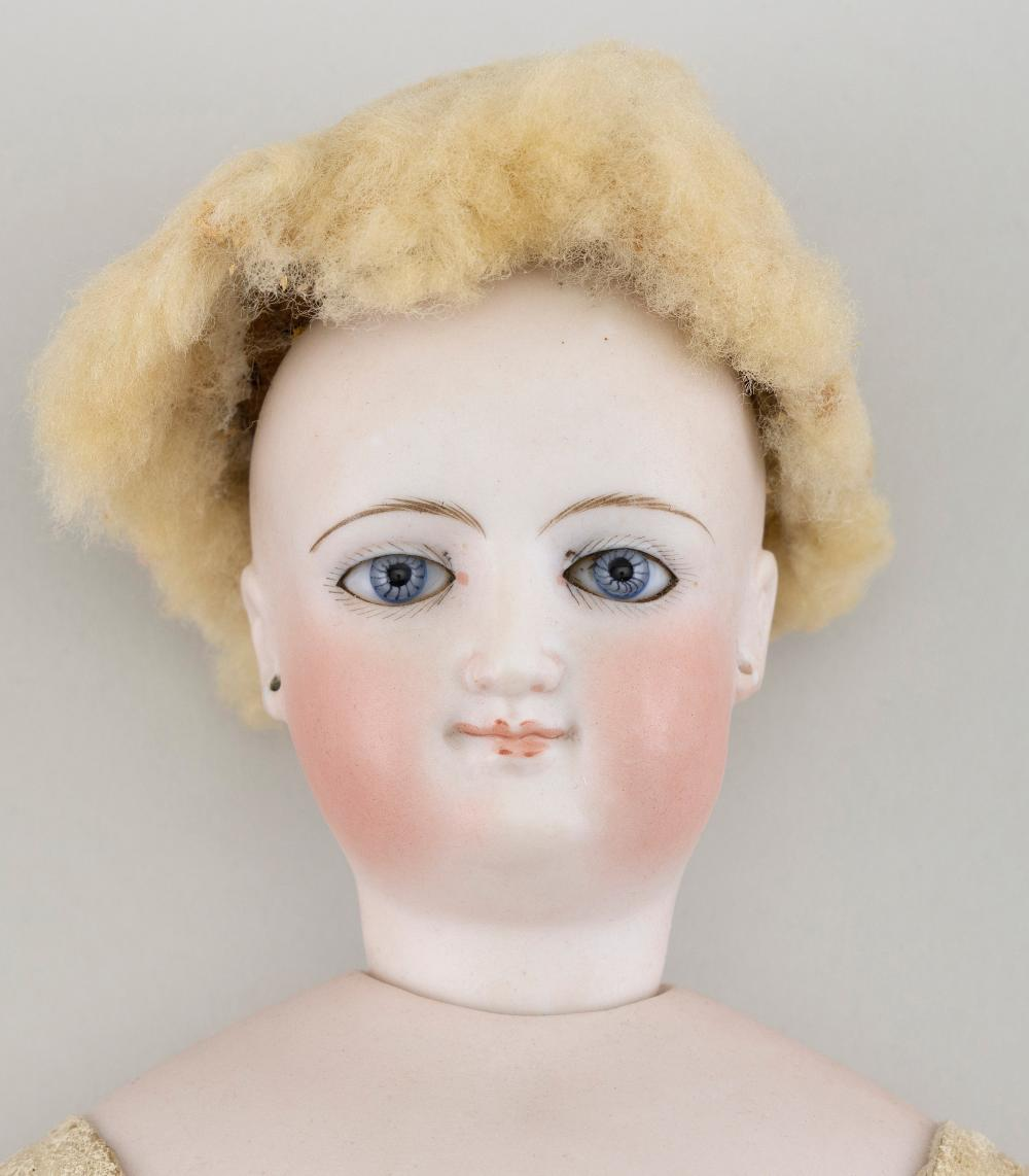 "FRENCH BISQUE-HEAD DOLL Circa 1890 Height 16""."