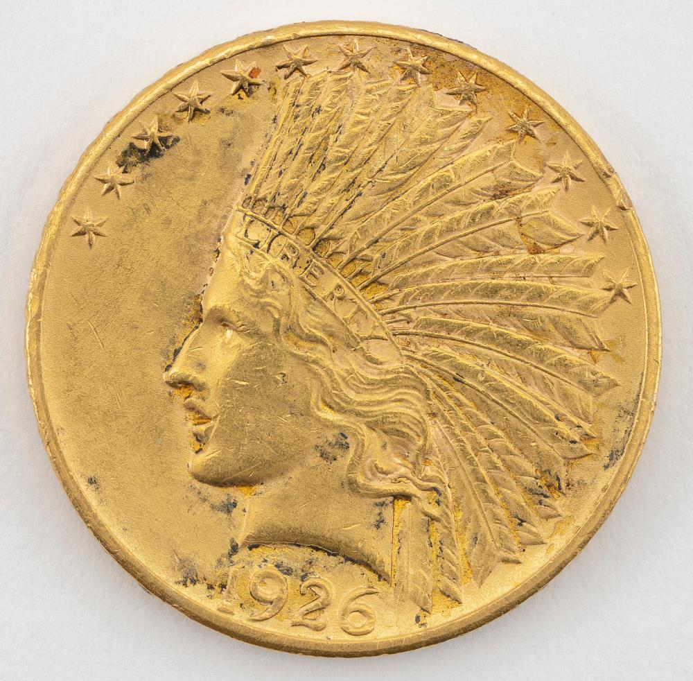 "1926 U.S. TEN DOLLAR GOLD COIN Diameter 1""."
