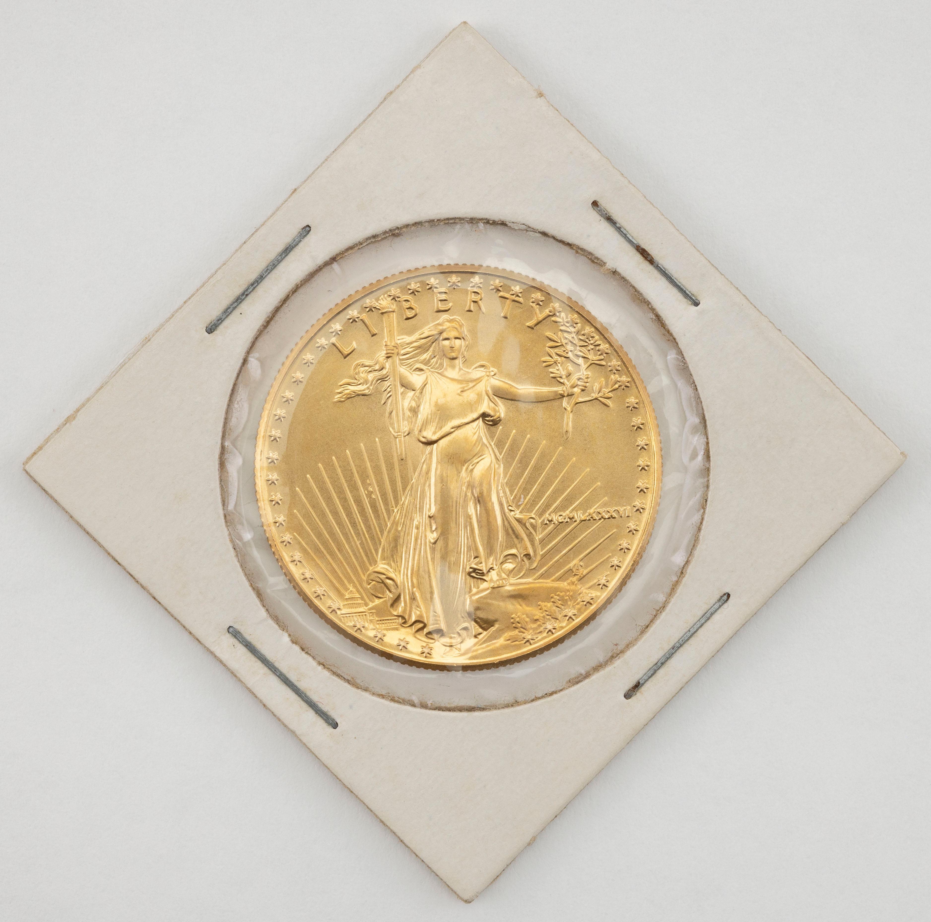 "1986 U.S. FIFTY DOLLAR GOLD COIN Diameter 1.25""."