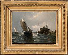 """AUGUST VON SIEGEN, Dutch, b. 1850, Ships off a port., Oil on panel, 12"""" x 16.75"""". Framed."""