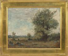 """ATTRIBUTED TO GEORGE VICTOR GRINNELL, Connecticut, 1878-1946, Meadow landscape., Oil on canvas, 14""""x 18"""". Framed 19"""" x 23""""."""