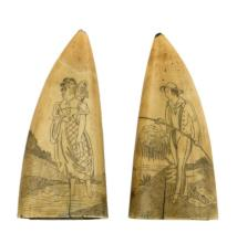 PAIR OF SCRIMSHAW WHALE''S TEETH One depicts a woman holding her shoes and walking in a stream. The other depicts a young fisherman w..