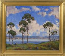 """GEORGE VICTOR GRINNELL, Connecticut, 1878-1946, On the Mystic River., Oil on canvas, 25"""" x 30"""". Framed 31"""" x 36""""."""