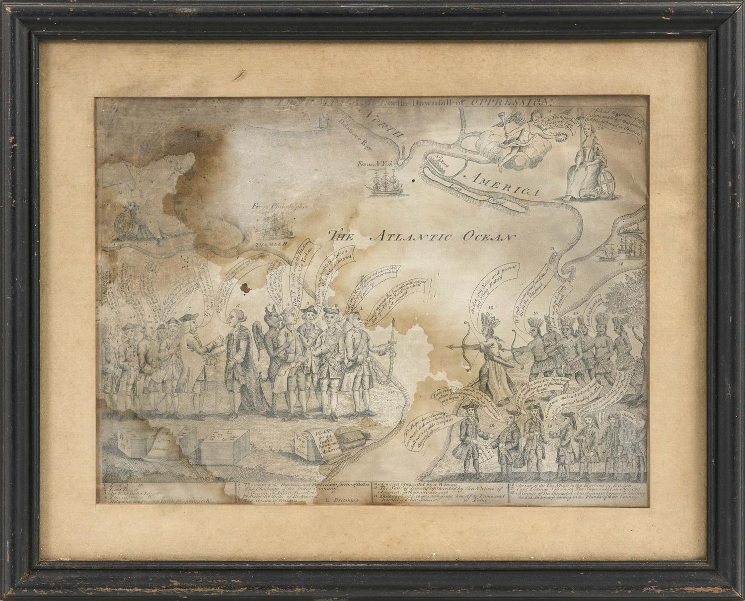 "EXTREMELY RARE AND IMPORTANT POLITICAL CARTOON OF REVOLUTIONARY WAR INTEREST ""Liberty Triumphant: Or the Downfall of Oppression."" At..."