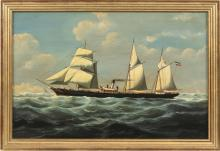 """SALVATORE COLACICCO, Canada/United Kingdom/Italy, b. 1935, Steam freighter., Oil on panel, 17.5"""" x 26"""". Framed 20"""" x 29""""."""
